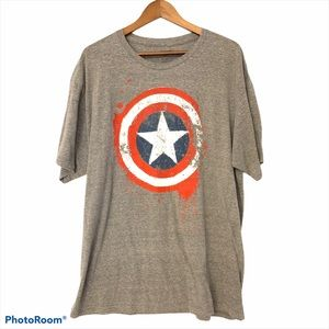 Marvel Comics Captain America T-Shirt Gray Size 2X